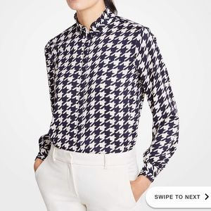 Ann Taylor houndstooth button down blouse